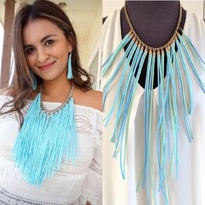COPY - Boho Chic! Suede fringe necklace!